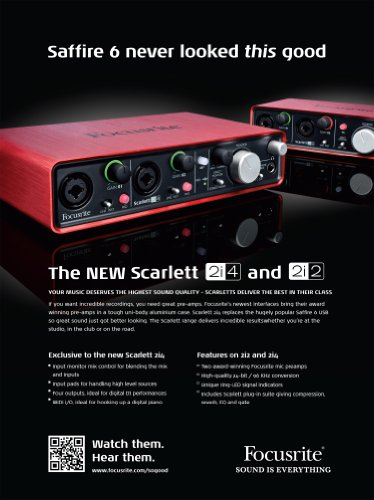 Focusrite Scarlett 2i2 2 In/2 Out USB Recording Audio Interface